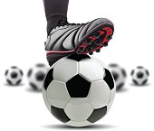 Soccer ball with football player feet on it.