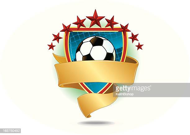 soccer ball with net, shield, banner and stars - sports organization stock illustrations, clip art, cartoons, & icons