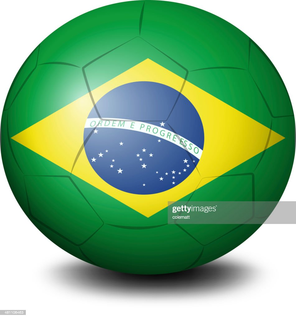 soccer ball with the flag of Brazil
