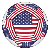 Soccer ball with United States flag