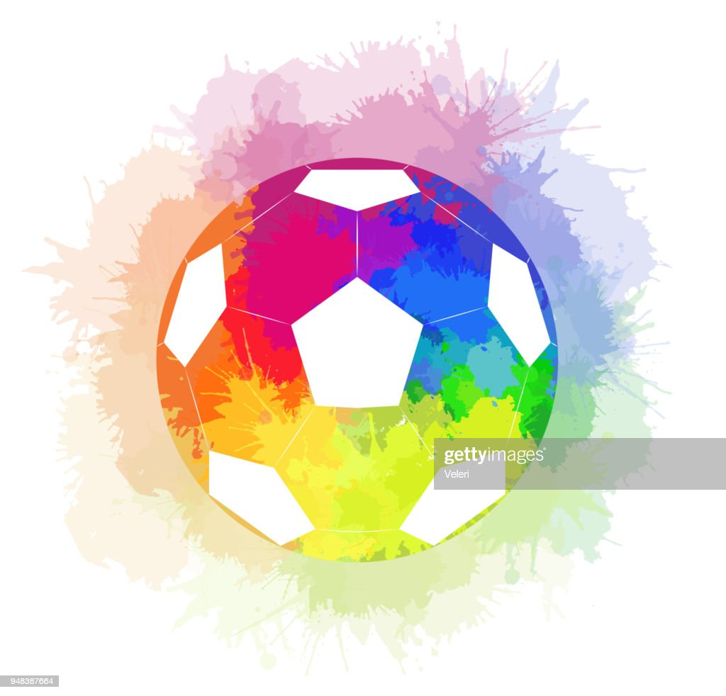 Soccer ball with watercolor rainbow background and watercolor rainbow spray.