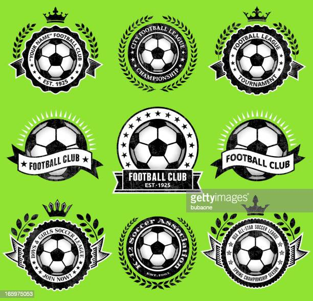 stockillustraties, clipart, cartoons en iconen met soccer ballblack & white badges vector icon set - clubvoetbal