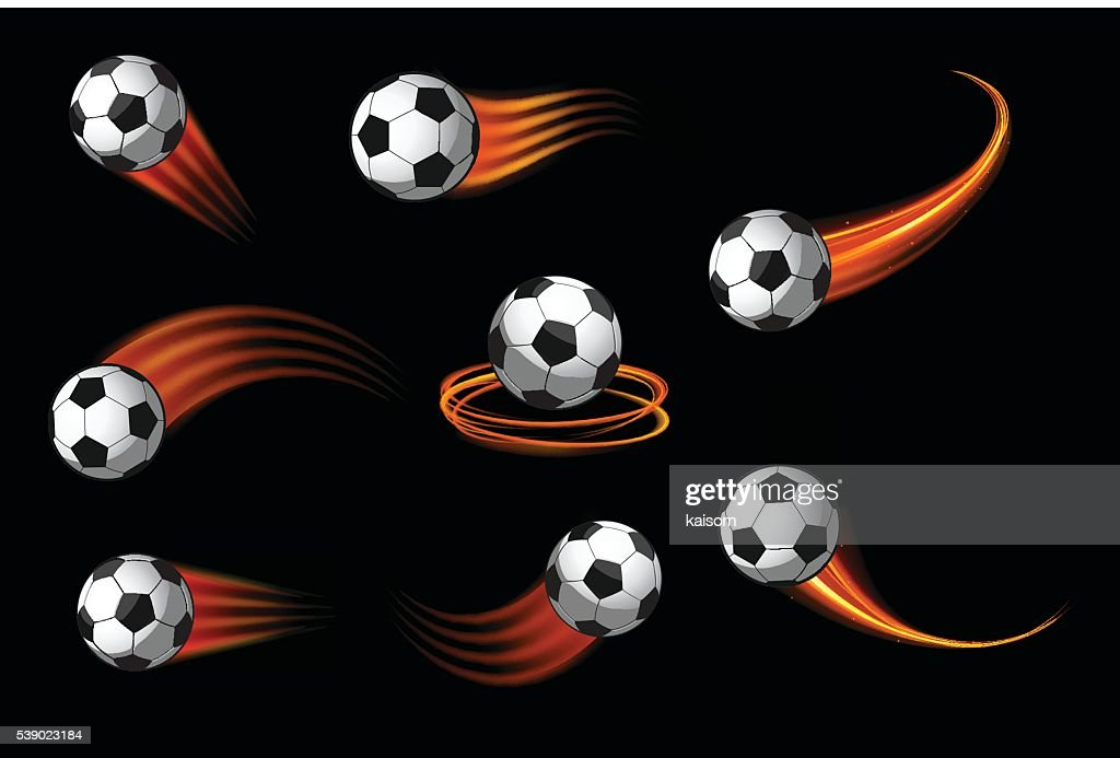 soccer balls or football icon with fire motion trails