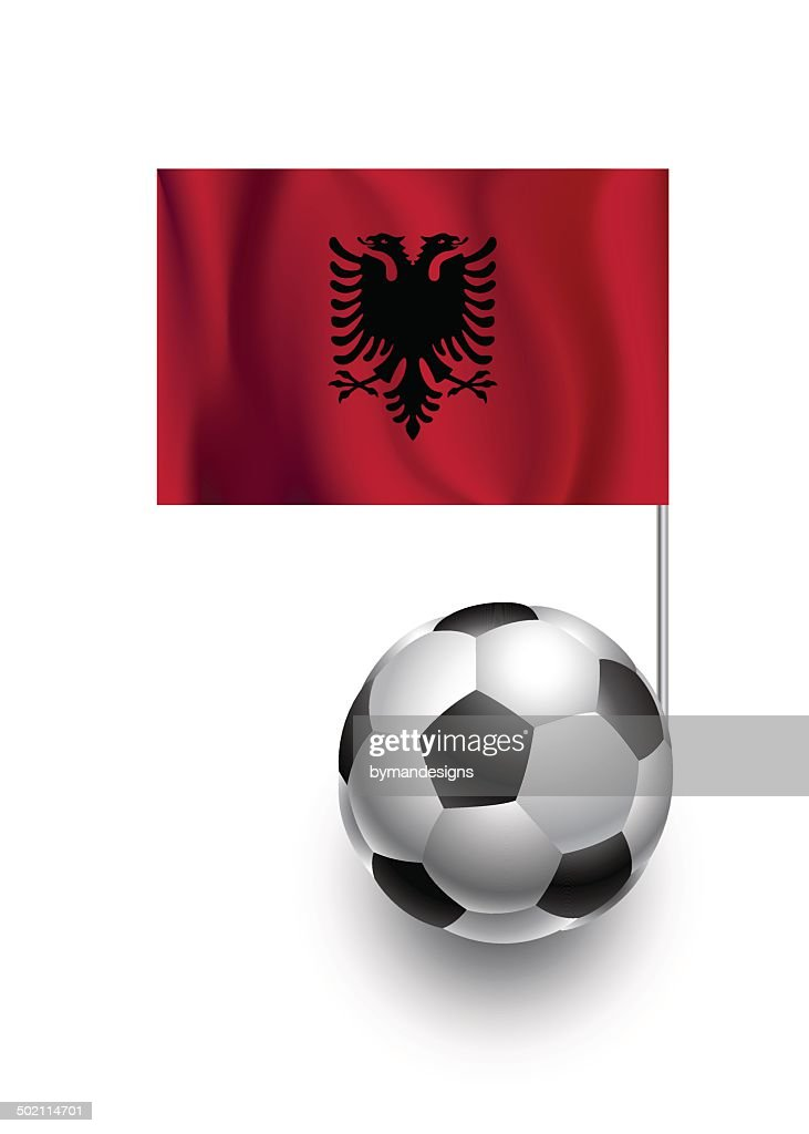 Soccer Balls or Footballs with  pennant flag of Albania
