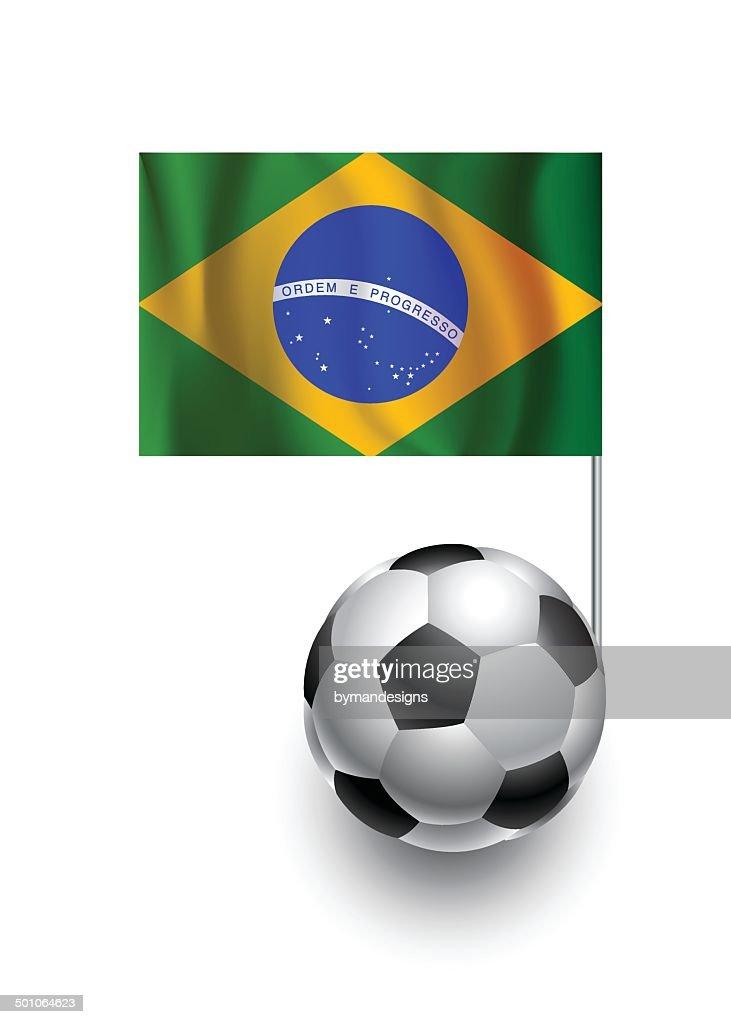Soccer Balls or Footballs with  pennant flag of Brazil