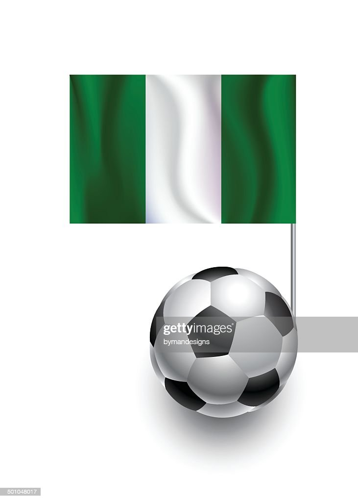 Soccer Balls or Footballs with  pennant flag of Nigeria
