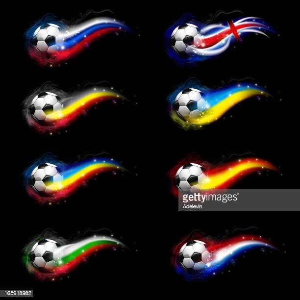 illustrazioni stock, clip art, cartoni animati e icone di tendenza di pallone da calcio con bandiere - traccia di luce