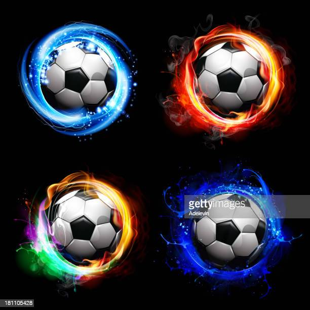 soccer balls-special effects - football stock illustrations, clip art, cartoons, & icons