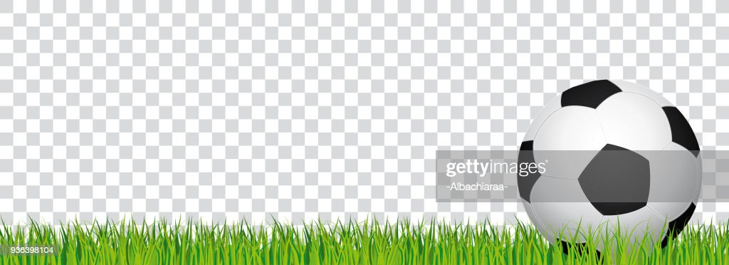 Soccer banner. Football stadium grass and transparent background. Vector header with soccer ball in the right side.