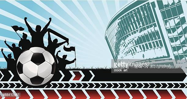 ilustraciones, imágenes clip art, dibujos animados e iconos de stock de banner de fútbol - fan enthusiast