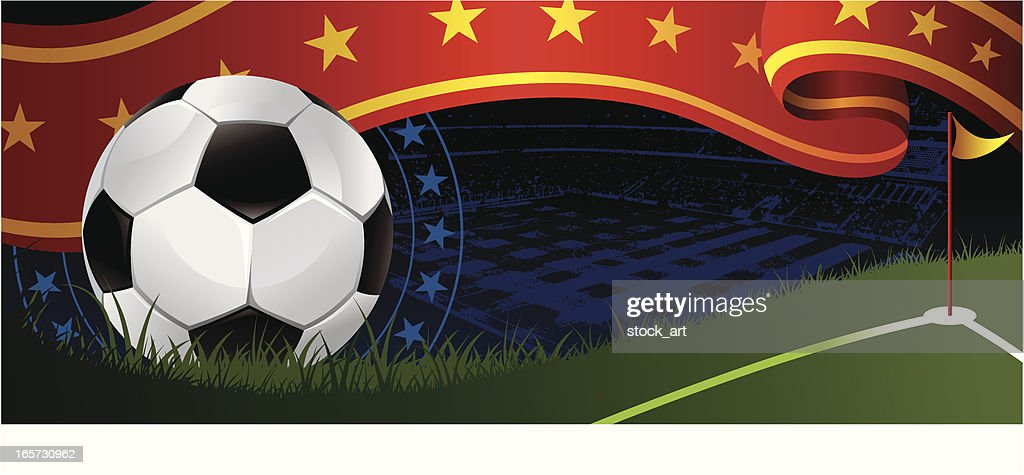 soccer banner with ball and red flag