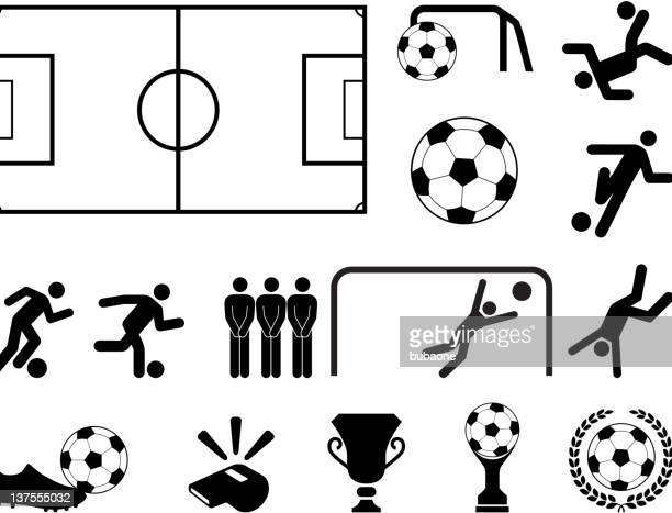 soccer black and white royalty free vector icon set - goal post stock illustrations