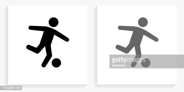 soccer black and white square icon - punt kick stock illustrations