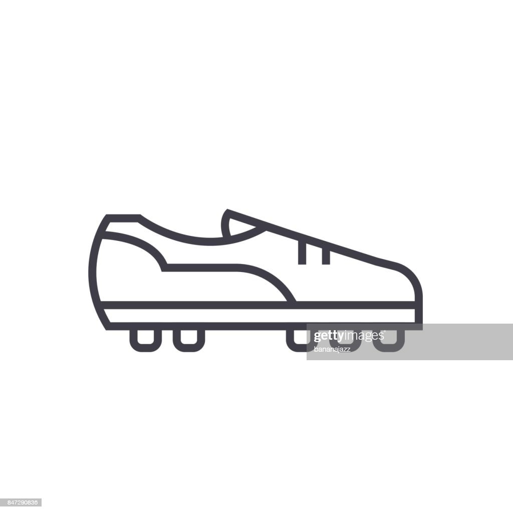 Soccer boot flat line illustration, concept vector isolated icon on white background