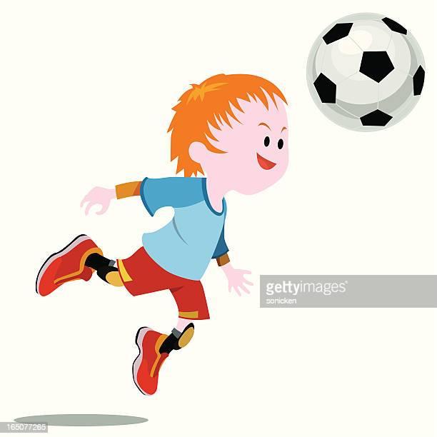 soccer boy heading the ball - heading the ball stock illustrations