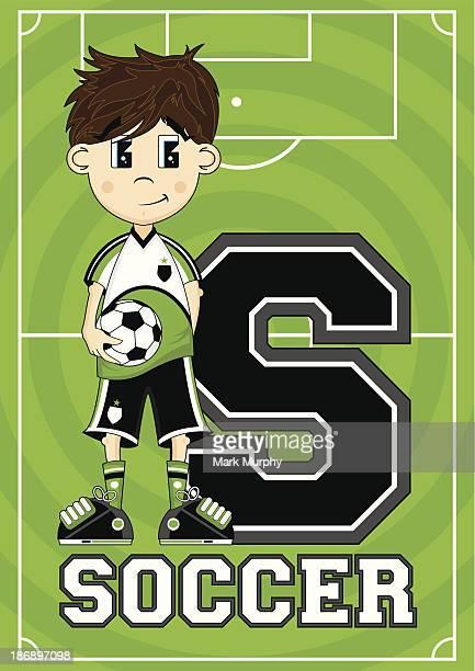 Soccer Boy Learning Letter S