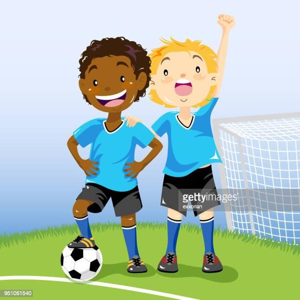 ilustrações de stock, clip art, desenhos animados e ícones de soccer boys - futebol infantil