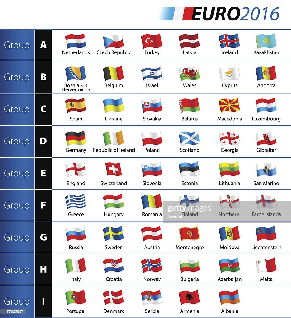 Soccer Championship EURO 2016 Flags
