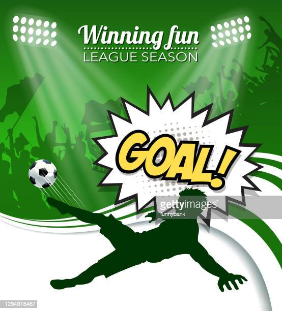 stockillustraties, clipart, cartoons en iconen met voetbal kampioenschap scoren - sporting term