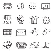 Soccer competition line vector icons. Football championship outline pictograms