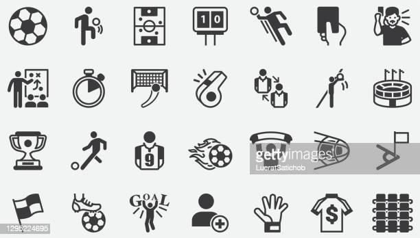 fußball-konzept-icons - tor schießen stock-grafiken, -clipart, -cartoons und -symbole