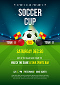 Soccer Cup Poster, Ball with soccer stadium background, vector illustration