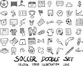 soccer doodle sketch vector ink eps10