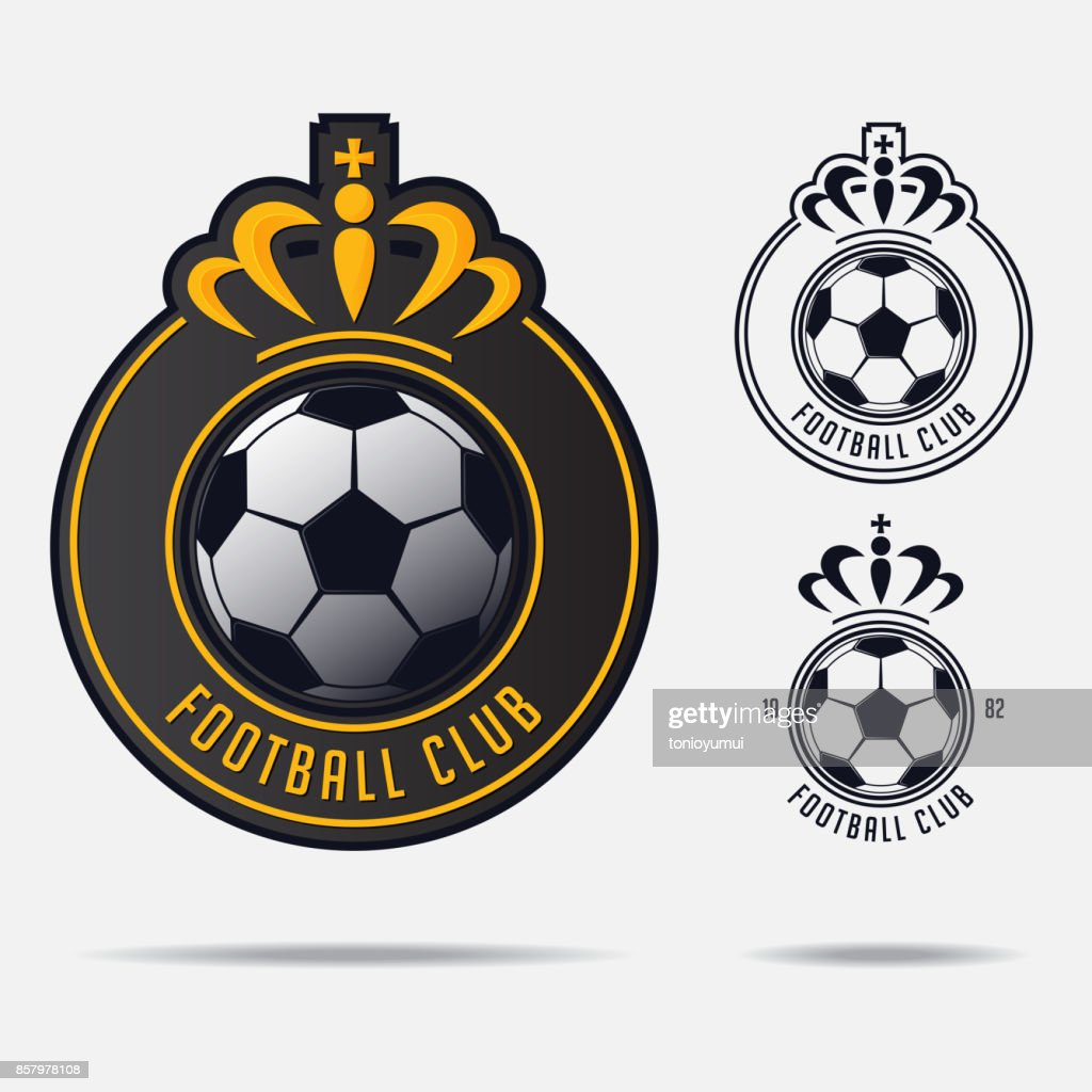 Soccer emblem or Football Badge Design for football team. Minimal design of golden crown and classic soccer ball. Football club in black and white icon. Vector.