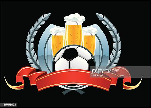 soccer emblem with ball and beer - lager stock illustrations, clip art, cartoons, & icons