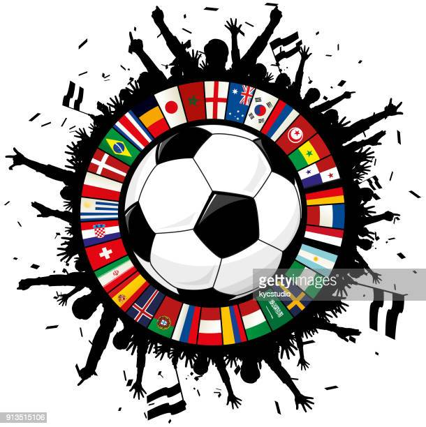 illustrazioni stock, clip art, cartoni animati e icone di tendenza di soccer emblem with ball, cheering fans, and circle of flags 2018 - calcio internazionale