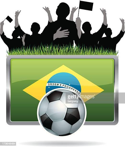 Soccer Fans with flag of Brazil
