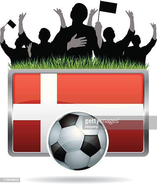 Soccer Fans with flag of Denmark