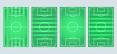 Soccer field collection.Soccer, european football field in different point. Soccer green field for game