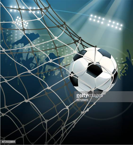 ilustraciones, imágenes clip art, dibujos animados e iconos de stock de gol de campo de fútbol - marcar términos deportivos