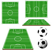 Soccer field isolated on white background with ball