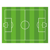 Soccer Field. Top View Football Green Stadium. Vector