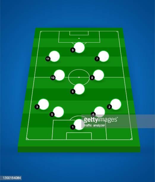 ilustraciones, imágenes clip art, dibujos animados e iconos de stock de campo de fútbol - cancha futbol