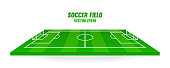 Soccer field vector illustration. Football pitch isolated on white background.