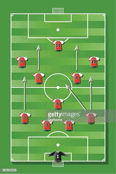 ilustraciones, imágenes clip art, dibujos animados e iconos de stock de campo de fútbol con equipo rojo - cancha futbol