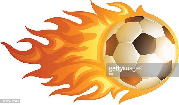 ilustraciones, imágenes clip art, dibujos animados e iconos de stock de llama pelota de fútbol - llamas de fuego
