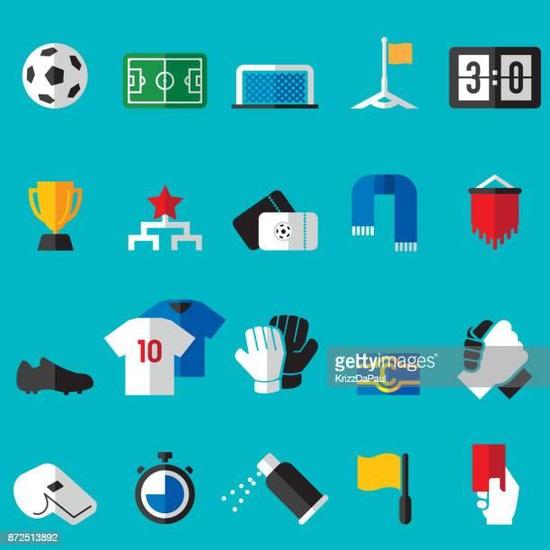 ilustraciones, imágenes clip art, dibujos animados e iconos de stock de fútbol iconos flat - guantes de portero