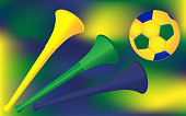 Soccer football backdrop vector. Trumpet horn and ball on gradient blur background. Brazil flag colors.