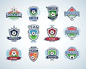 Soccer football badge Logo design templates, sport logotype template.