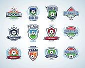 Soccer football badge Logo design templates, sport logotype template.