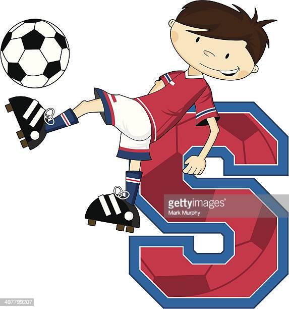De futebol de futebol de aprendizagem Menino Letra S