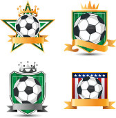 Soccer football emblems with banner space
