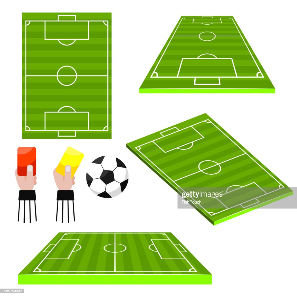 Soccer football fields different view sides vector objects