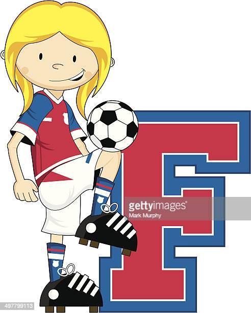 Aprendizagem de futebol de futebol de menina Letra F