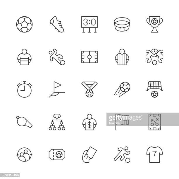 soccer football icons - thin line series - football strip stock illustrations