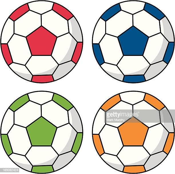 Soccer Football in Red, Blue, Green & Orange